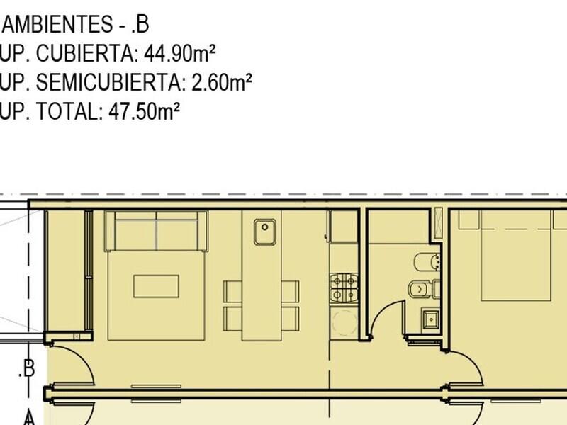 2 AMB - 47,50m3 - CON BALCÓN - 3