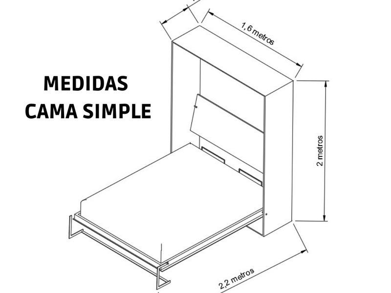 Cama rebatible vertical 2 plazas. - 5