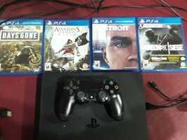 PS4 Slim 1TB, 1 Joystick y 4 juegos - Imagen 1